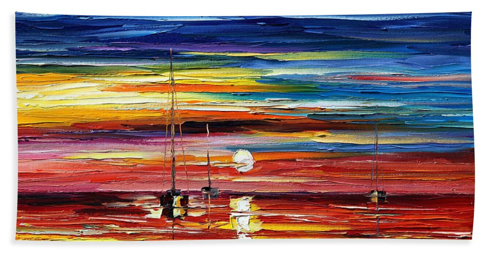 Boat Bath Sheet featuring the painting Little Boat by Leonid Afremov