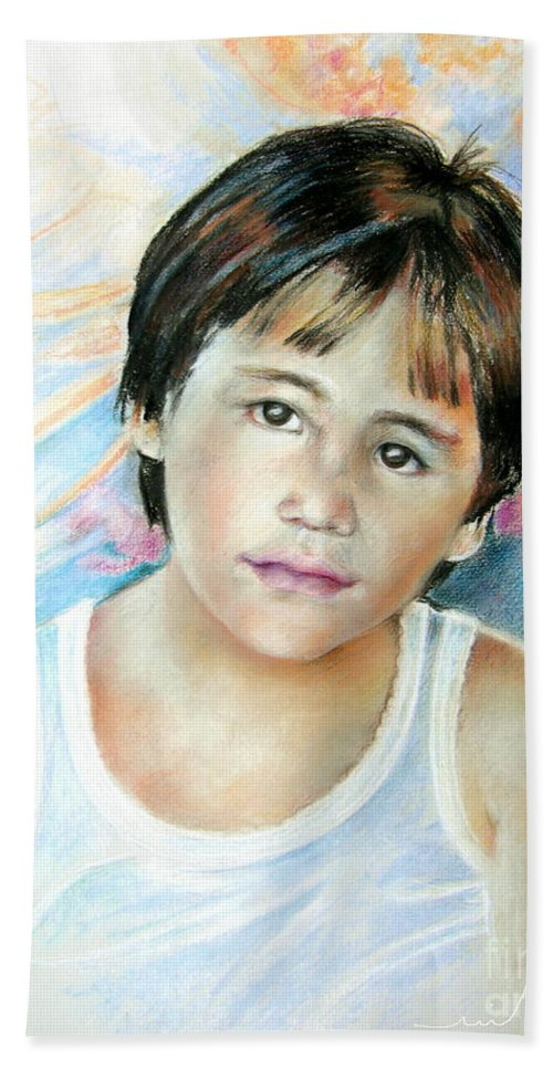 Portrait Child Hand Towel featuring the painting Little Boy From Tahiti by Miki De Goodaboom