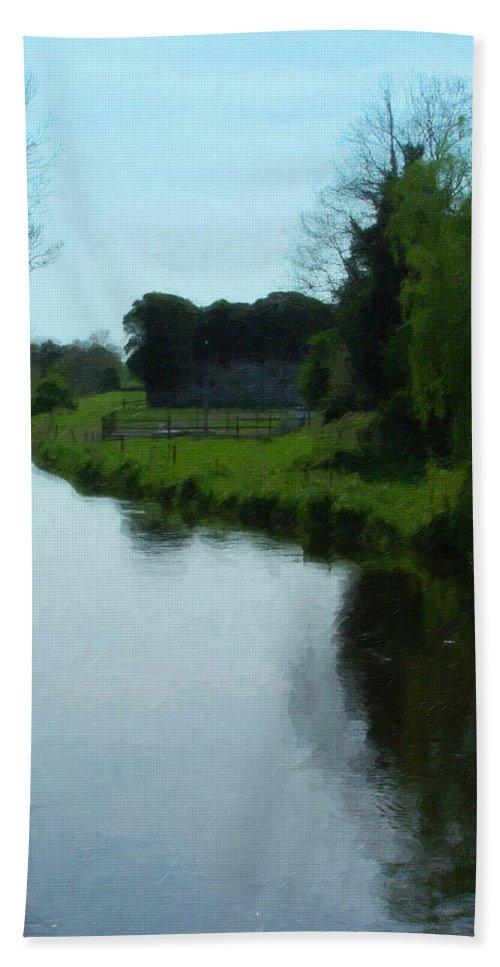 Little Brosna River Bath Sheet featuring the painting Little Brosna River Riverstown Ireland by Teresa Mucha