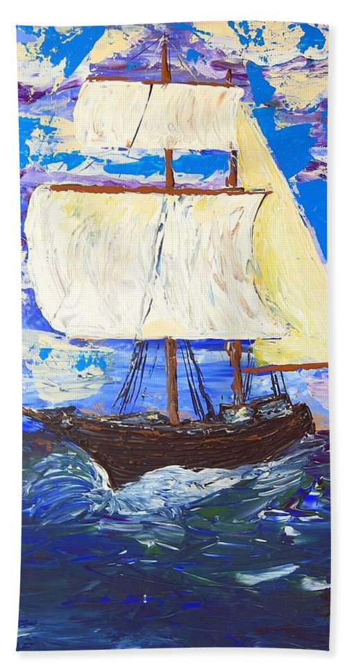 Impressionist Painting Bath Sheet featuring the painting Little Clipper by J R Seymour