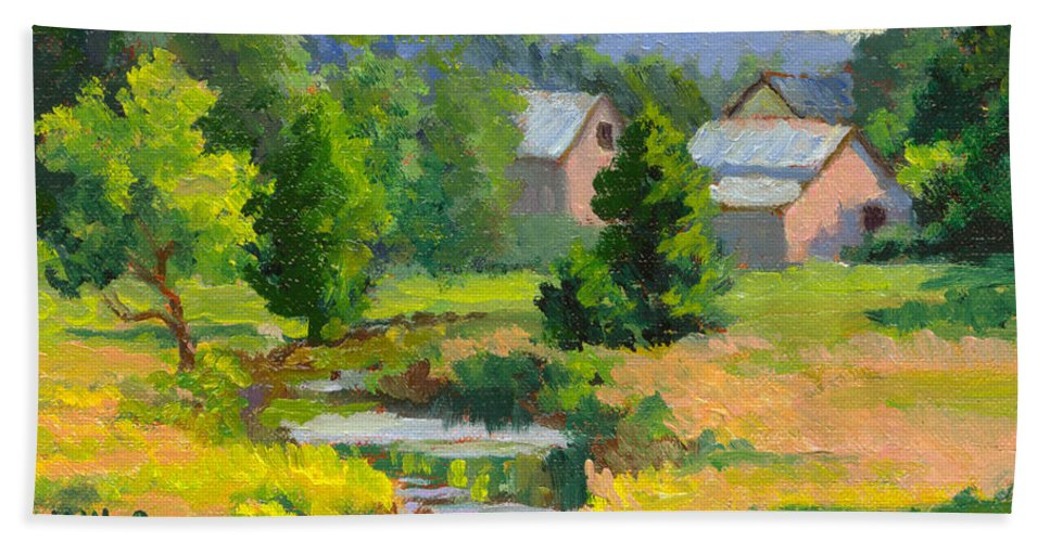 Landscape Bath Sheet featuring the painting Little Creek Farm by Keith Burgess