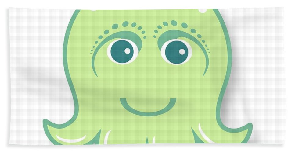 Little Octopus Bath Towel featuring the digital art Little Cute Green Octopus by Ainnion