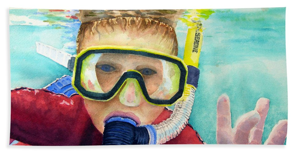 Diver Bath Sheet featuring the painting Little Diver by Sam Sidders