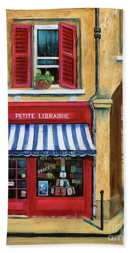 Europe Bath Towel featuring the painting Little French Book Store by Marilyn Dunlap