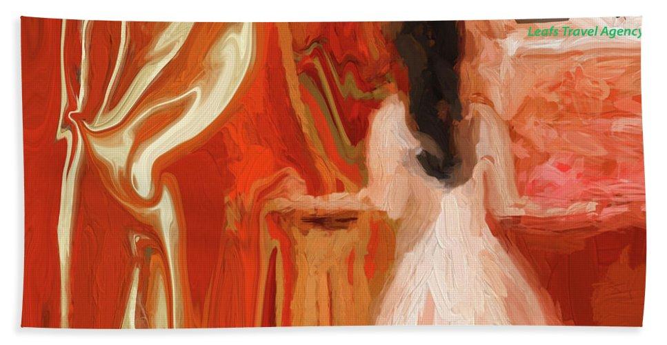 Fun Bath Sheet featuring the digital art Little Gal Planning A Trip by Sherri's - Of Palm Springs