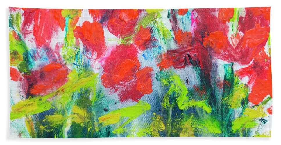 Abstract Hand Towel featuring the painting Little Garden 01 by Claire Desjardins