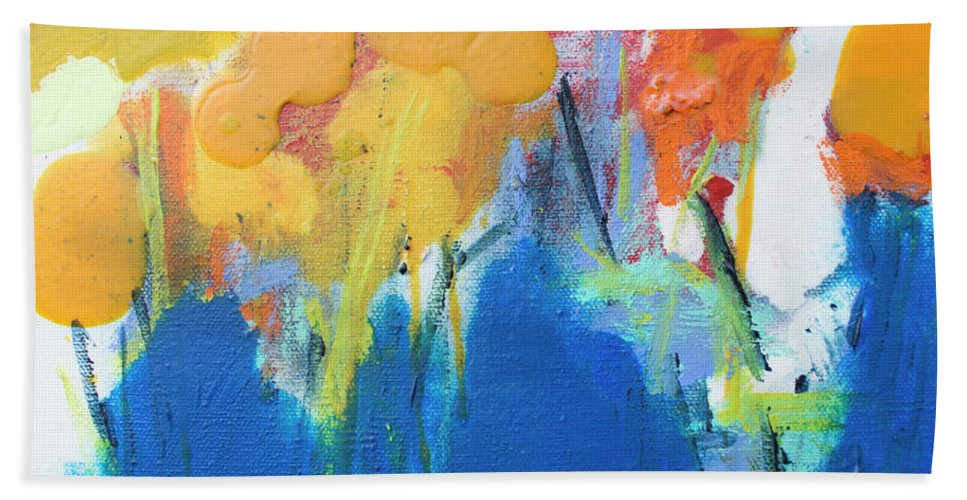 Abstract Bath Towel featuring the painting Little Garden 02 by Claire Desjardins