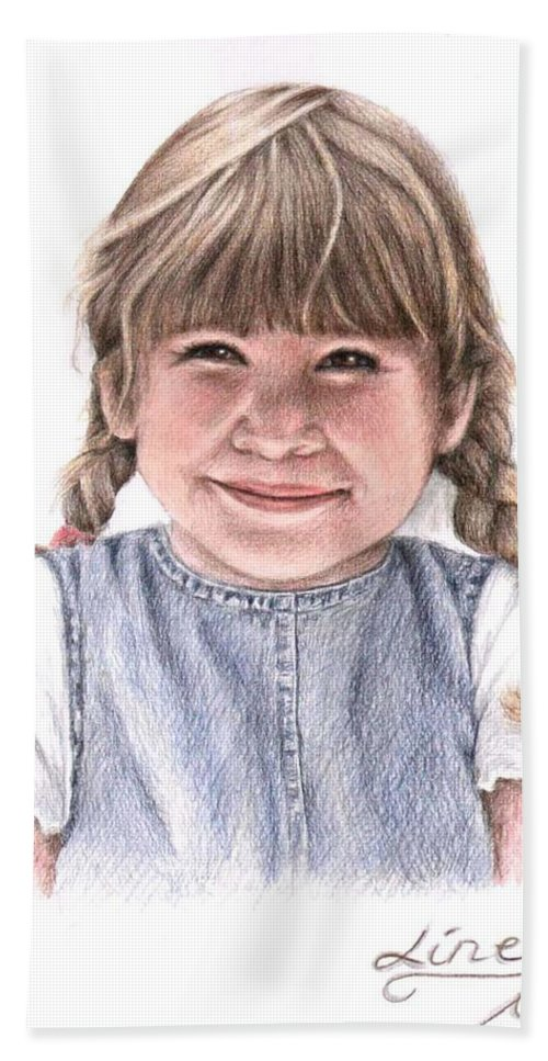 Girl Hand Towel featuring the drawing Little Girl by Nicole Zeug