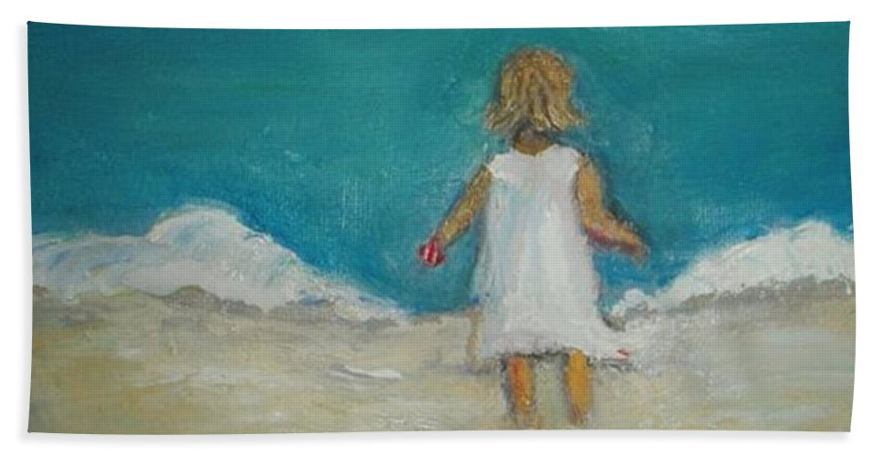 Beach Bath Sheet featuring the painting Little Girl Playing On Beach by Vesna Antic