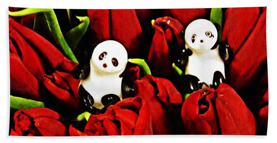 Panda Hand Towel featuring the photograph Little Glass Pandas 80 by Sarah Loft