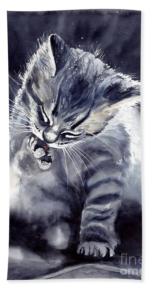 Little Bath Towel featuring the painting Little Grey Cat by Suzann Sines