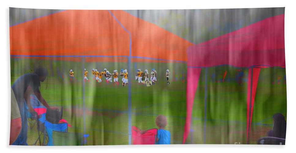Hdr Hand Towel featuring the digital art Little League Football by Larry Braun