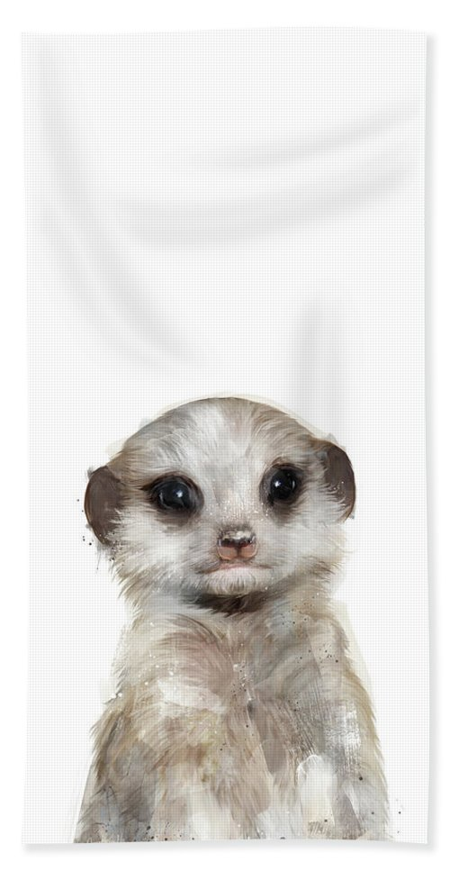 Meerkat Hand Towel featuring the painting Little Meerkat by Amy Hamilton