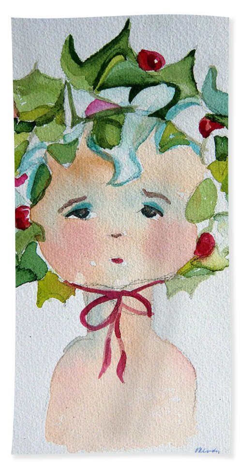 Miss Hand Towel featuring the painting Little Miss Innocent Ivy by Mindy Newman