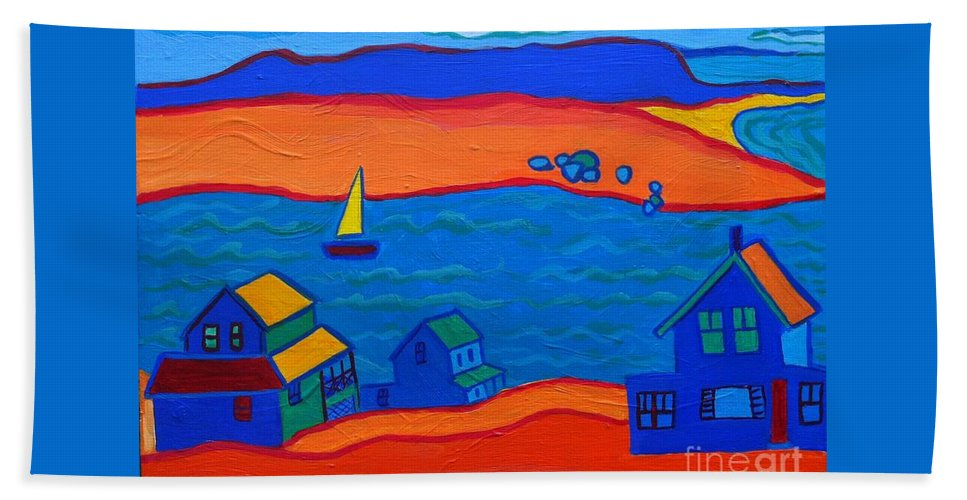Landscape Hand Towel featuring the painting Little Neck Cottages by Debra Bretton Robinson