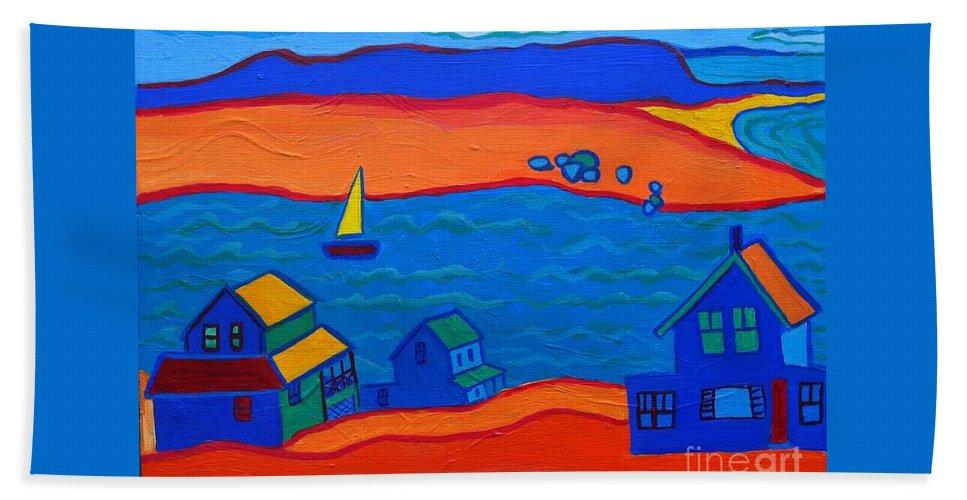 Landscape Bath Sheet featuring the painting Little Neck Cottages by Debra Bretton Robinson