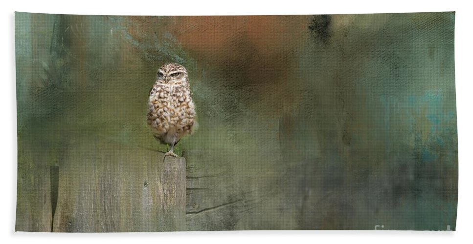 Little Owl Bath Sheet featuring the photograph Little Owl On A Fence by Eva Lechner