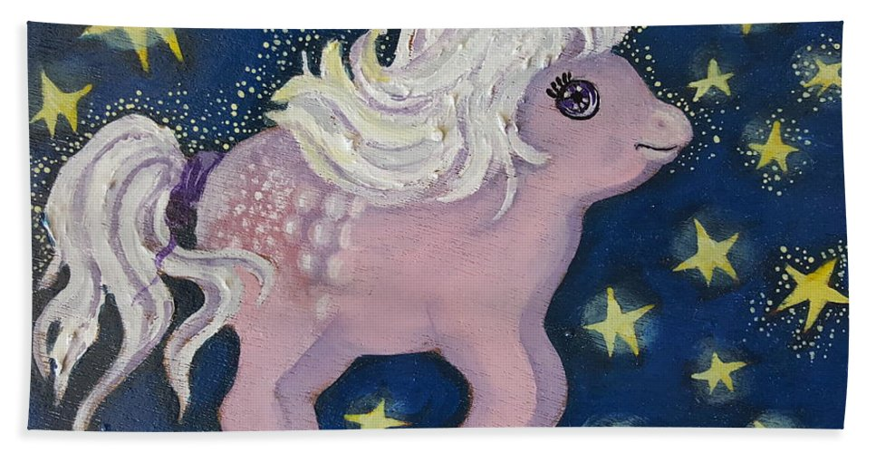 Wood Bath Towel featuring the painting Little Pink Horse by Rita Fetisov