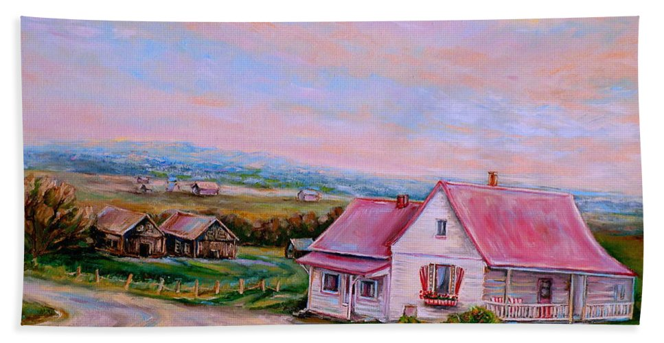 Little Pink Houses Bath Towel featuring the painting Little Pink Houses by Carole Spandau