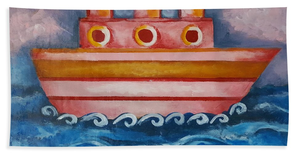 Ship Hand Towel featuring the painting Little Pink Ship by Rita Fetisov