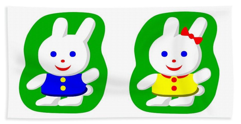 Adorable Hand Towel featuring the digital art Little Rabbit Boy And Rabbit Girl by Miroslav Nemecek