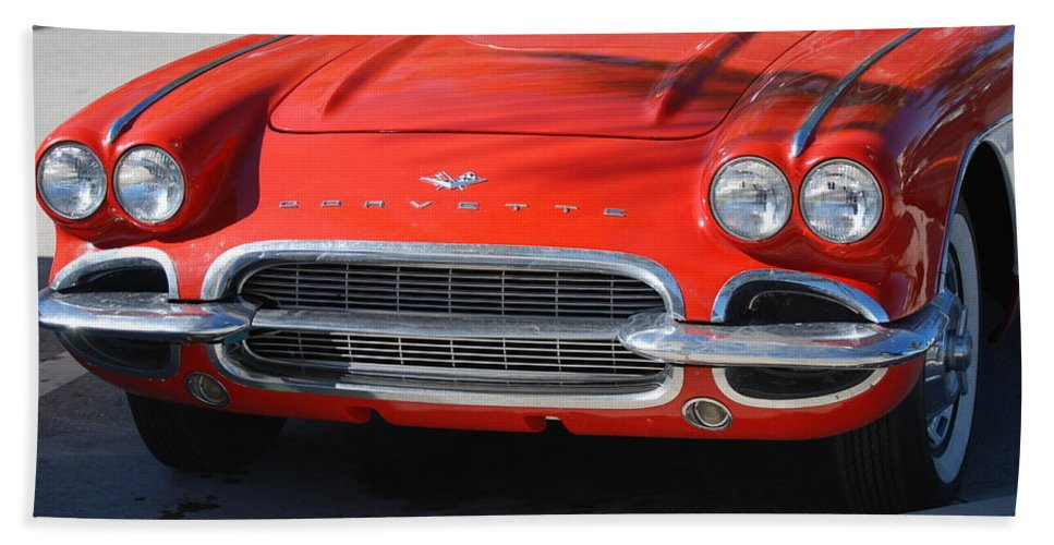 Corvette Bath Towel featuring the photograph Little Red Corvette by Rob Hans