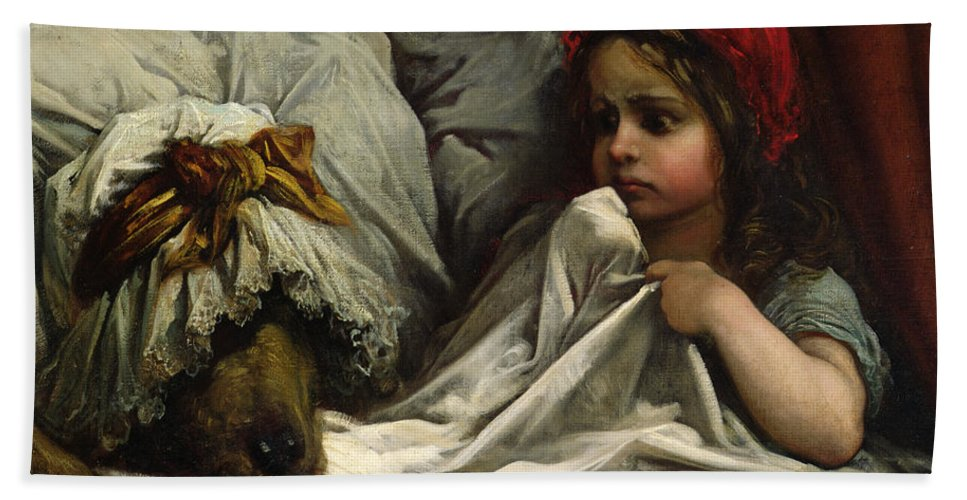 Wolf; Disguise; Child; Girl; Fairy Tale; Story; Glasses; Bed; Nightcap; Fear Hand Towel featuring the painting Little Red Riding Hood by Gustave Dore