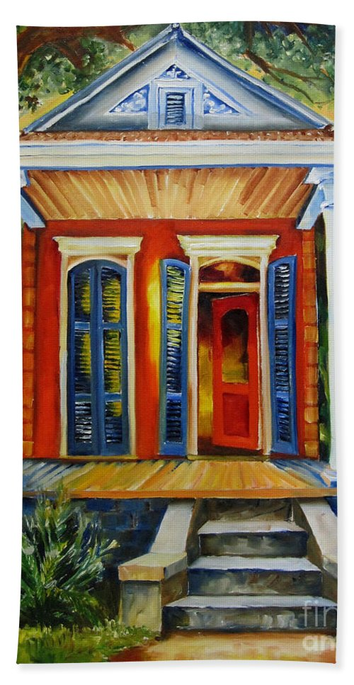 New Orleans Paintings Hand Towel featuring the painting Little Red Shotgun by Diane Millsap
