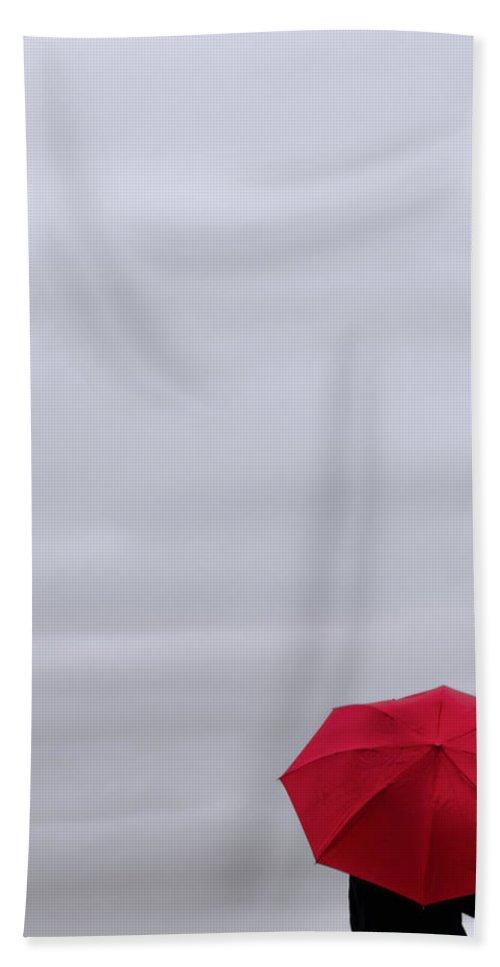 Umbrella Bath Sheet featuring the photograph Little Red Umbrella by Don Schwartz