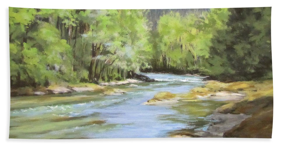 Original Bath Sheet featuring the painting Little River Morning by Karen Ilari