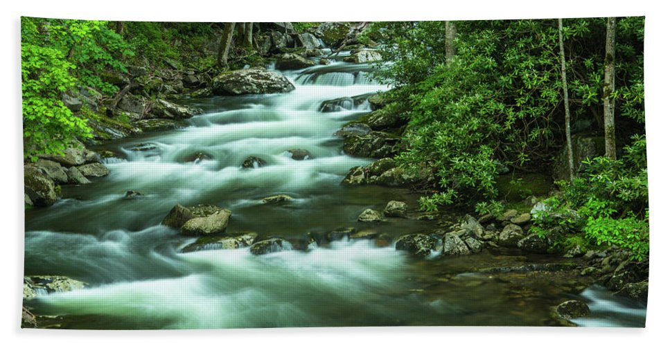 Middle Prong Trail Bath Sheet featuring the photograph Little River Tremont Area Of Smoky Mountains National Park by Carol Mellema