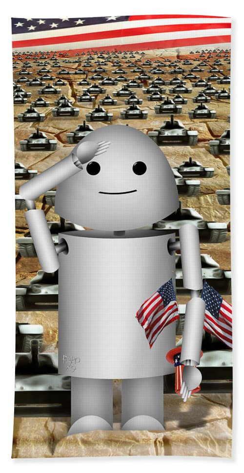 Memorial Day Bath Sheet featuring the digital art Little Robo-x9 Says Tanks Alot by Gravityx9 Designs