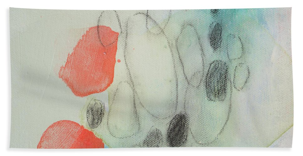Abstract Bath Towel featuring the painting Little Secret 05 by Claire Desjardins