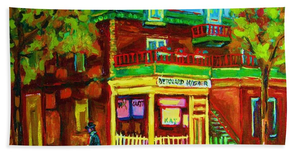 Montreal Streetscenes Bath Towel featuring the painting Little Shop On The Corner by Carole Spandau