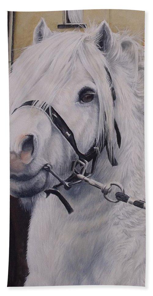 Portrait Bath Sheet featuring the painting Little Stallion-glin Fair by Pauline Sharp