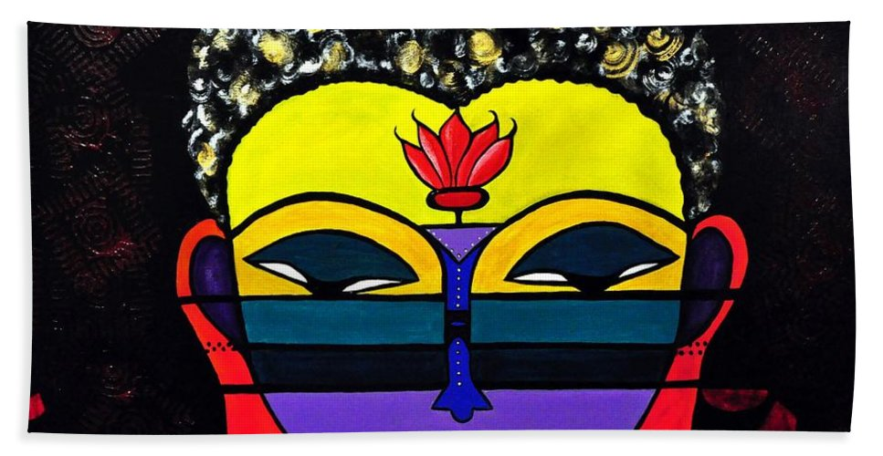 Buddha Bath Sheet featuring the painting Little Tribal In All Of Us by Davids Digits