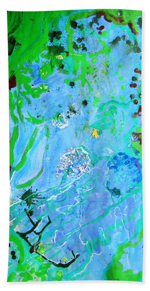 Little World Hand Towel featuring the painting Little World by Petra Olsakova