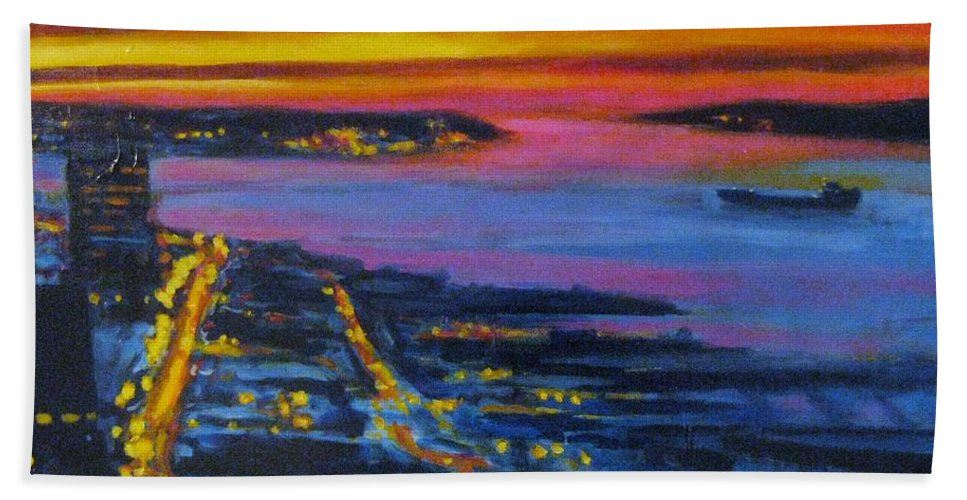 Night Scenes Bath Towel featuring the painting Live Eye Over Dartmouth Ns by John Malone