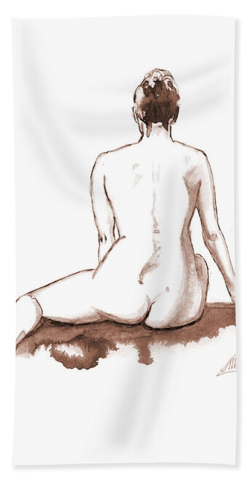 Nude Hand Towel featuring the painting Live Model Figure  by Alban Dizdari