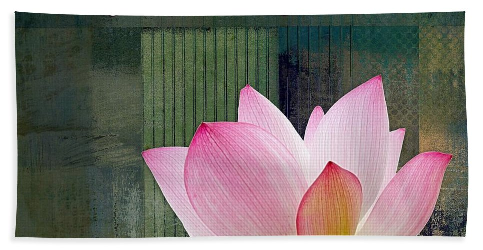 Lotus Hand Towel featuring the digital art Live N Love - - 0333-15a by Variance Collections