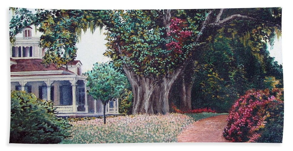 Landscape Bath Towel featuring the painting Live Oak Gardens Jefferson Island La by Todd A Blanchard