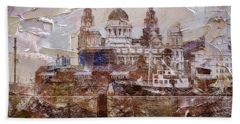 Liverpool Hand Towel featuring the painting Liverpool by Mark Taylor