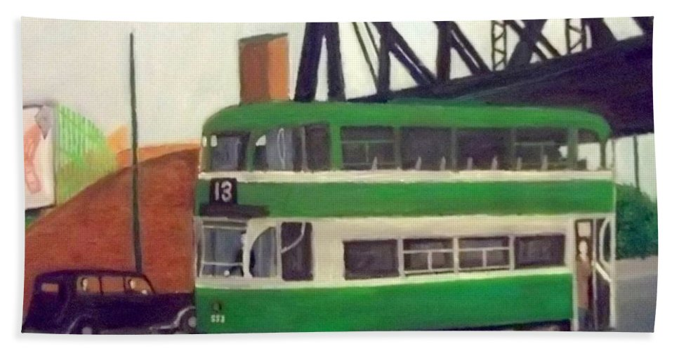 Liverpool Tram Hand Towel featuring the painting Liverpool Tram 1953 by Peter Gartner