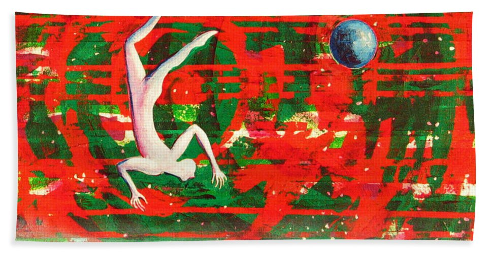 Universe Bath Towel featuring the painting Living In My Life by Rollin Kocsis