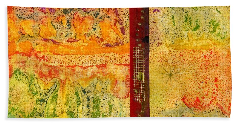 Colorful Hand Towel featuring the mixed media Living On Both Sides Of The Fence by Angela L Walker