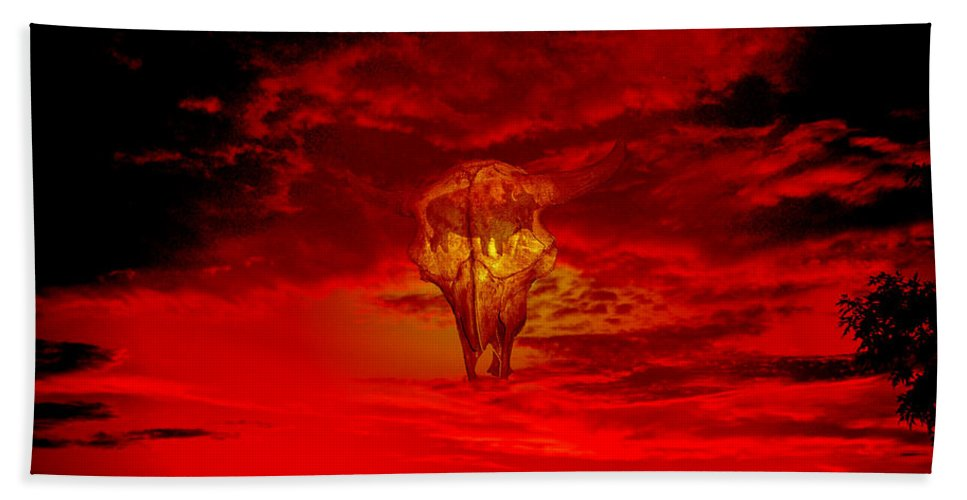 Skull Sky Red Dawn Buffalo Clouds Cloudy Nature Bison Water Skyline Waterscape Bath Sheet featuring the photograph Living Sky by Andrea Lawrence