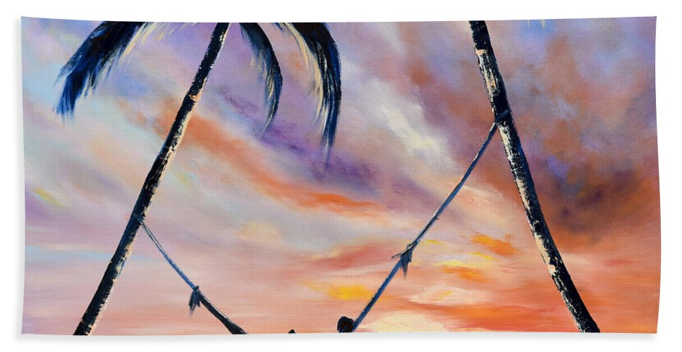 Sunset Hand Towel featuring the painting Living The Dream by Gina De Gorna