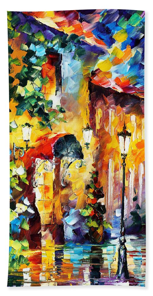 Afremov Bath Sheet featuring the painting Living Town by Leonid Afremov