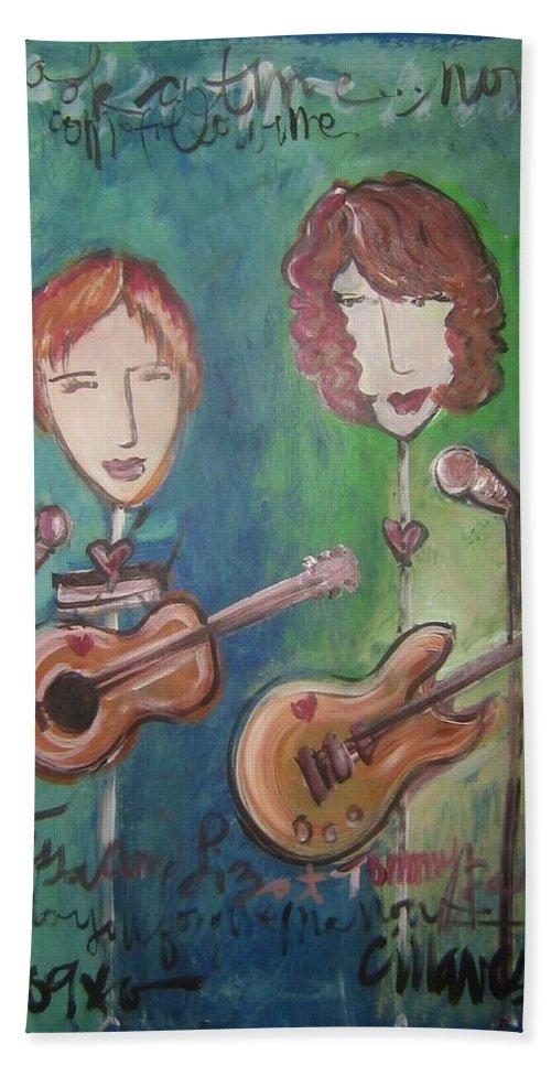 Liz Clark Hand Towel featuring the painting Liz Clark by Laurie Maves ART