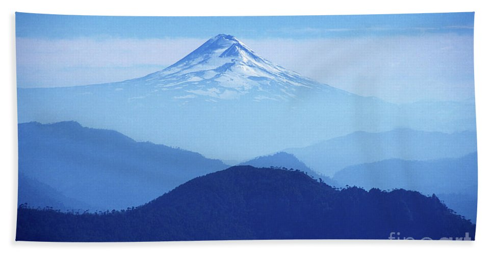 Chile Bath Towel featuring the photograph Llaima Volcano Chile by James Brunker